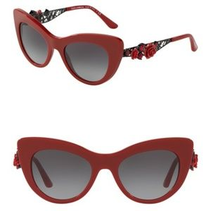 8dffc3033097 Dolce & Gabbana Red Flower Lace Cat Eye Sunglasses